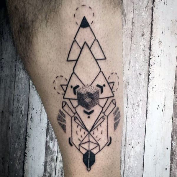 Geometric Shin Tattoo For Men With Triangles