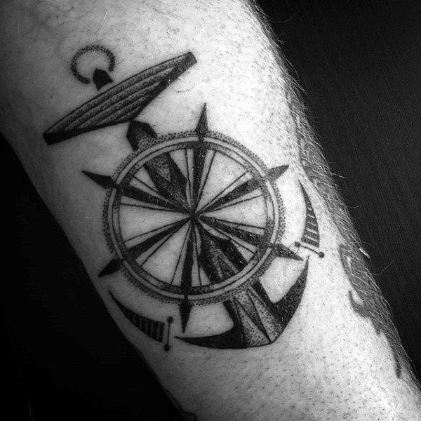 Geometric Ship Wheel Tattoo Design For Men On Forearm