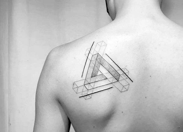 Geometric Shoulder Blade Male Tattoo With Penrose Triangle Design
