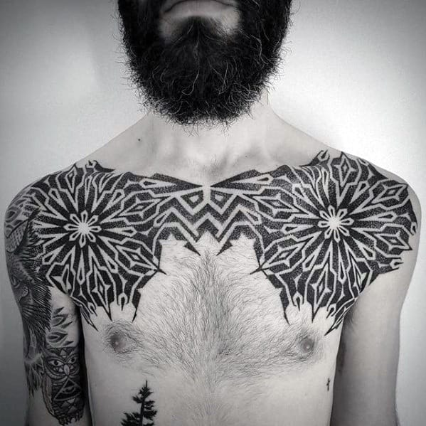 Geometric Shoulders And Upper Chest Guys Tattoo Ideas