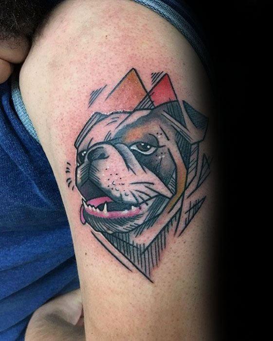 Geometric Sketched Guys Creative Bulldog Upper Arm Tattoo