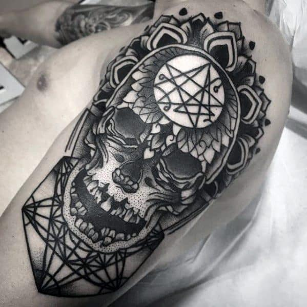 Geometric Skull Arm Tattoo Ideas On Guys