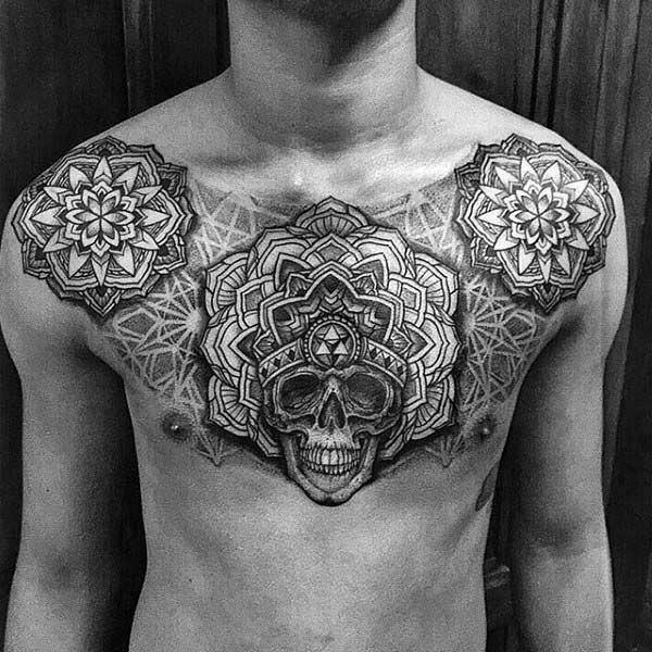 Geometric Skull Chest Coolest Tattoos For Men
