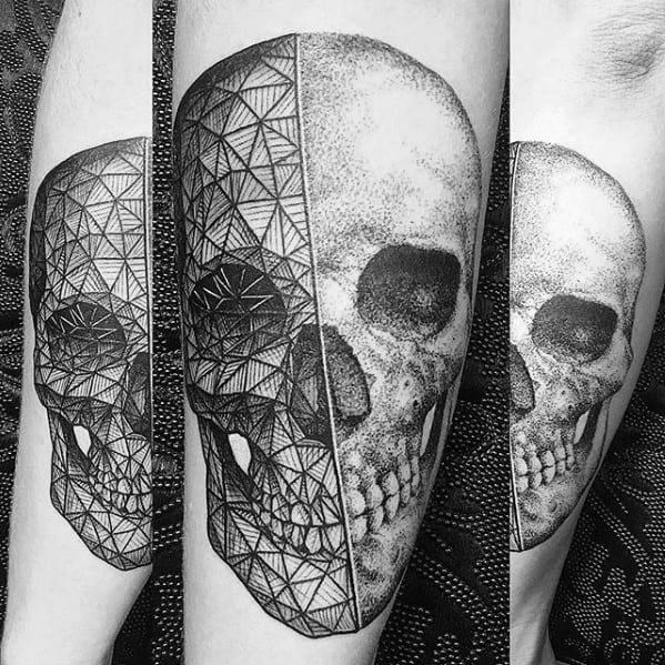 Geometric Skull Forearm Guys Tattoos With Rad Design