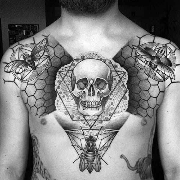 Geometric Skull With Fly Mens Tattoo Designs On Chest