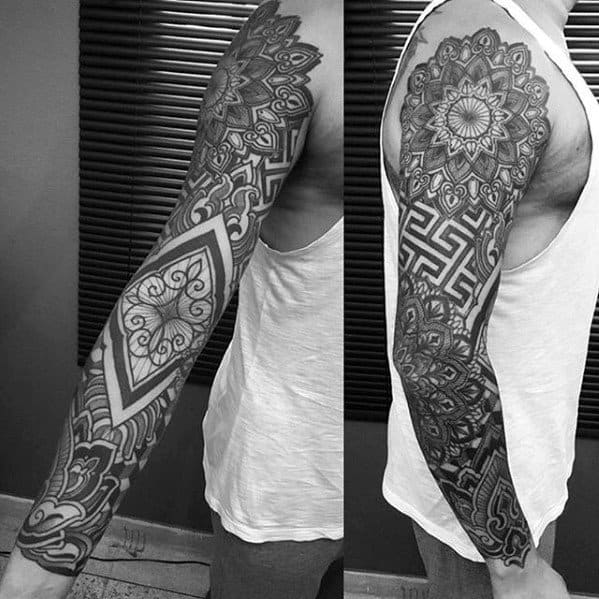 50 Geometric Tattoo Sleeve Designs For Men Complex Ink Ideas