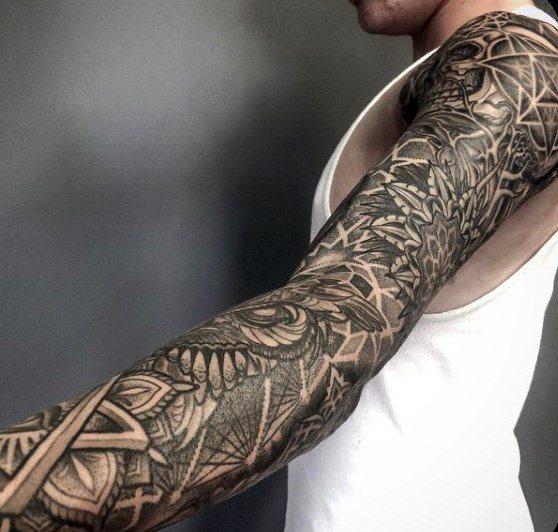 127e0f62e 50 Geometric Tattoo Sleeve Designs For Men - Complex Ink Ideas