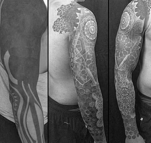 Geometric Sleeve Up Cover Male Tattoo Design Inspiration