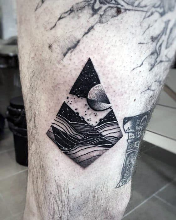 Geometric Small Detailed Nature Landscape With Moon Mens Thigh Tattoo