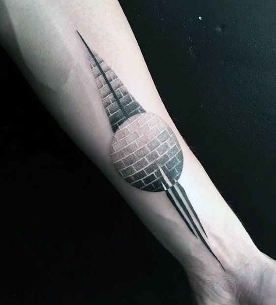 Geometric Sphere Small Manly Inner Forearm Tattoo On Man