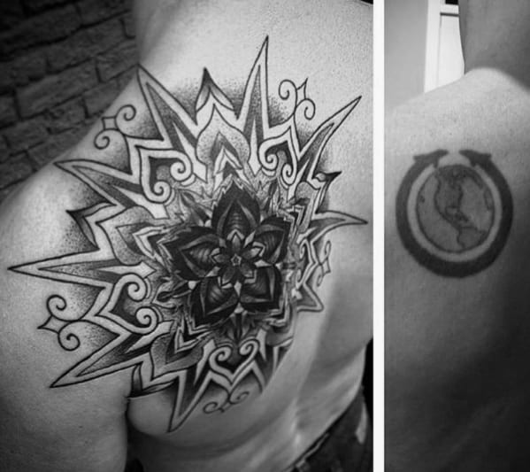 Geometric Star Mens Tattoo Cover Up Ideas On Shoulder