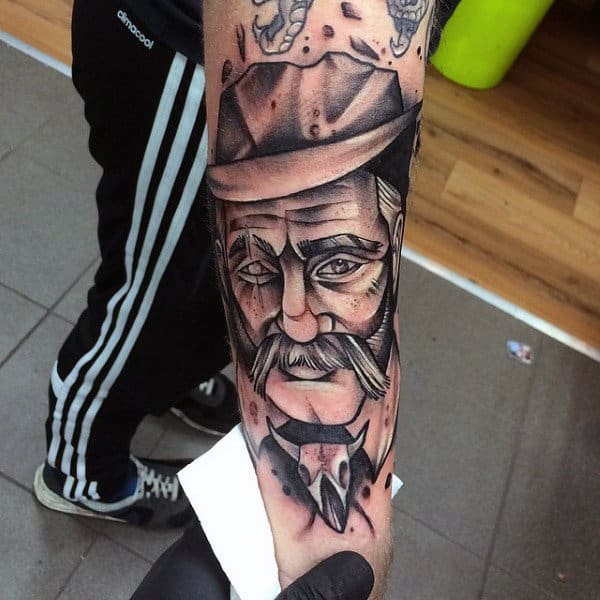 Geometric Style Unique Black Old Man Cowboy.from West Tattoo