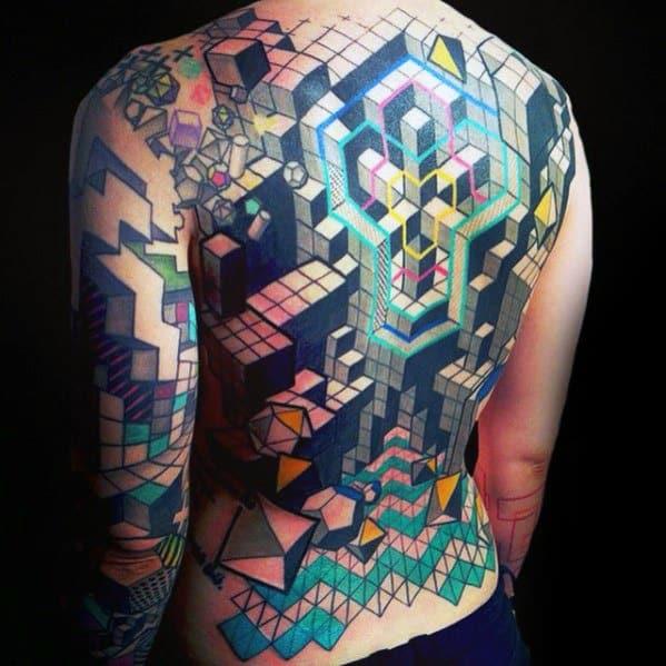 Geometric Tetris Male Tattoo Ideas On Full Back