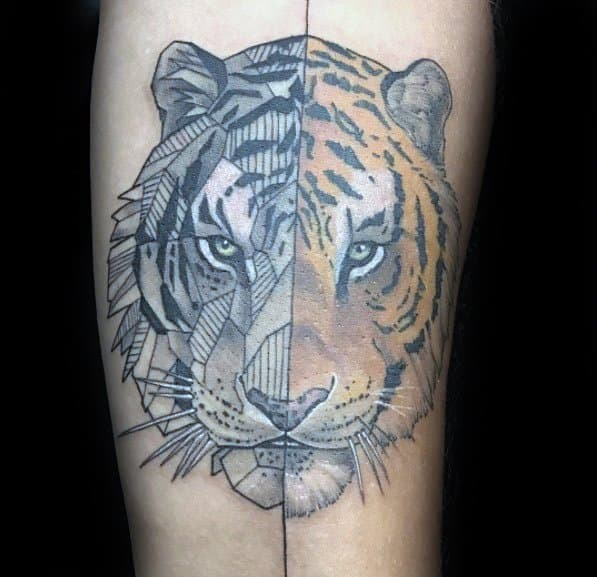 Geometric Tiger Guys Tattoo Designs