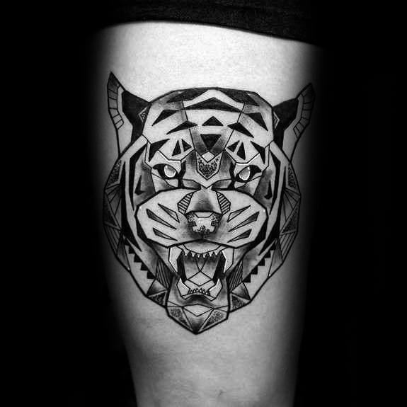 Geometric Tiger Guys Tattoo Ideas