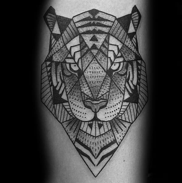 Geometric Tiger Guys Tattoos