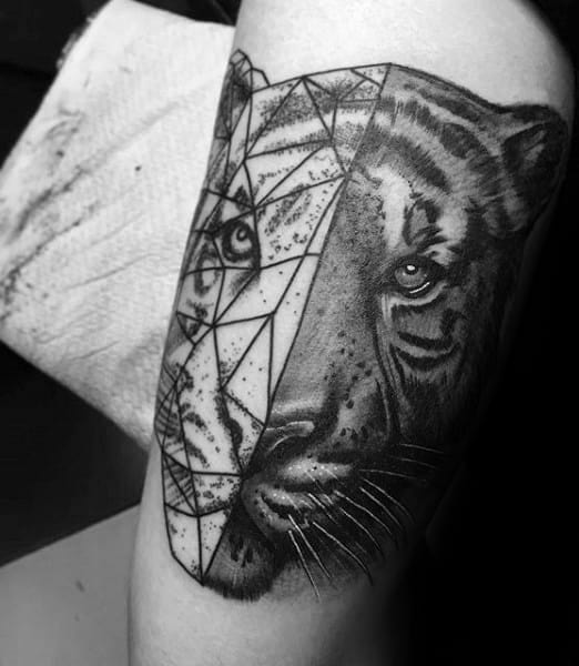 Geometric Tiger Male Tattoos