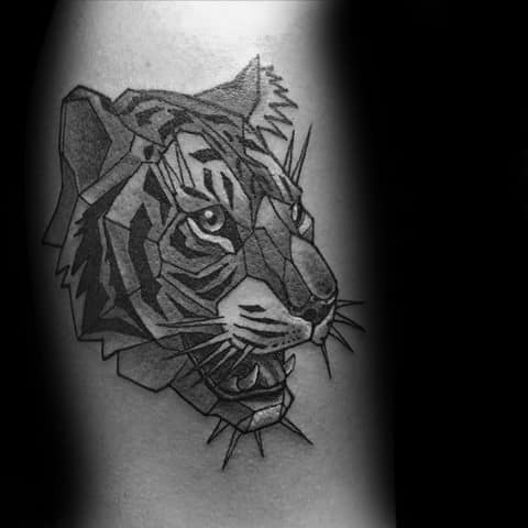 Geometric Tiger Mens Tattoo Designs