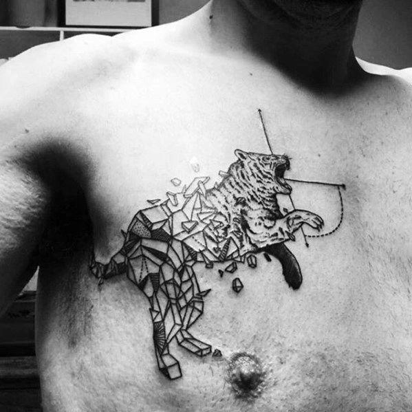 Geometric Tiger Tattoo Design On Man