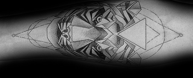 50 Geometric Tiger Tattoo Designs For Men – Striped Geometry Ideas