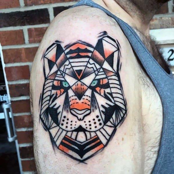 Geometric Tiger Tattoo Ideas For Gentlemen