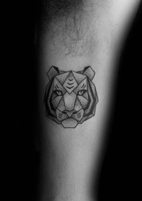 Geometric Tiger Tattoo Ideas For Males