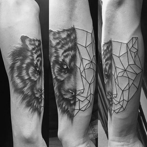 Geometric Tiger Tattoo Ideas On Guys