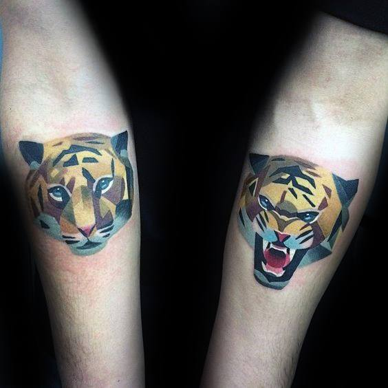 Geometric Tiger Tattoos For Gentlemen