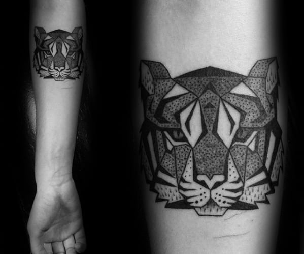 Geometric Tiger Tattoos Guys