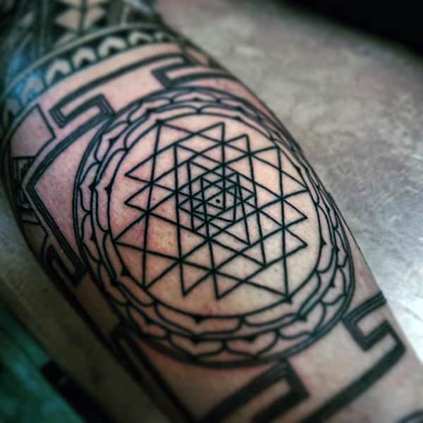 Geometric Triangle Pattern Tattoo For Guys