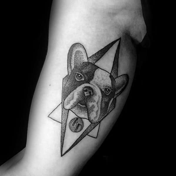 Geometric Triangles Bulldog Male Inner Arm Bicep Tattoos