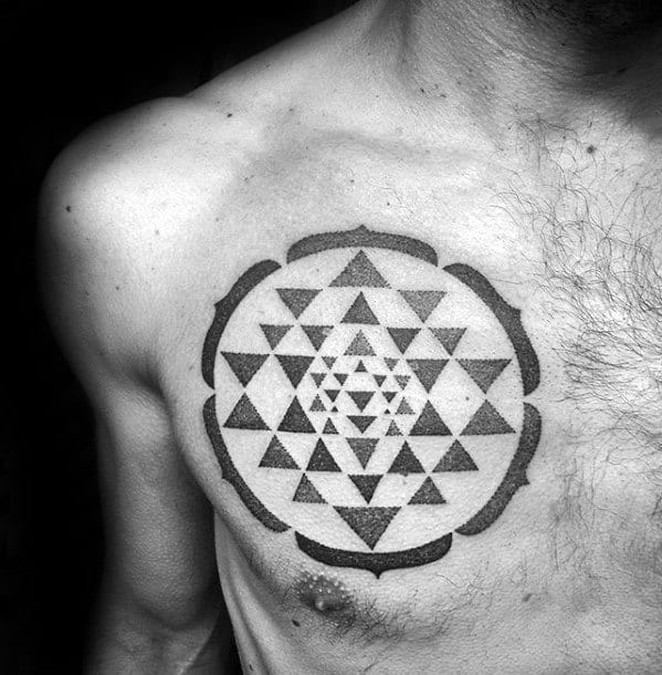 Geometric Triangles Within Circle Guys Cool Chest Tattoo Ideas