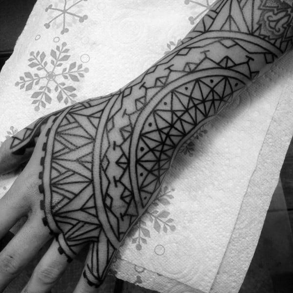 Geometric Tribal Male Hand Tattoo