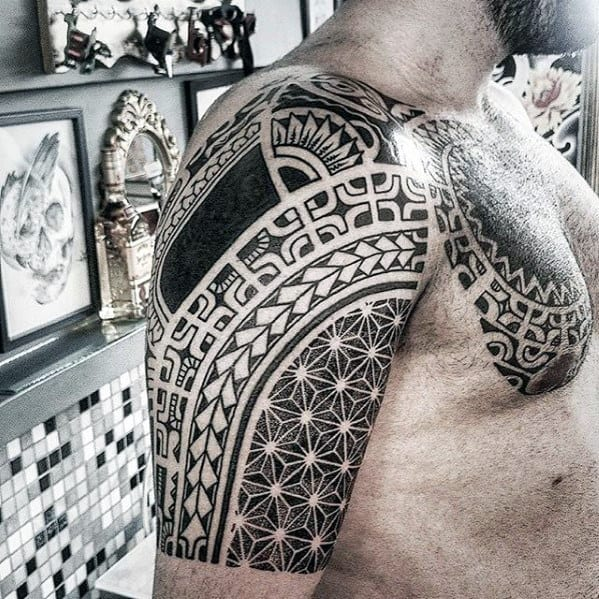 Geometric Tribal Mens Sick Half Sleeve Tattoo Ideas