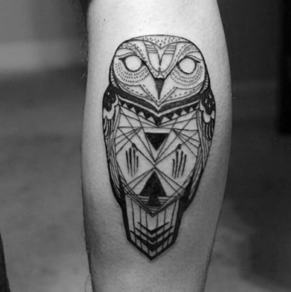 Geometric Tribal Owl Guys Leg Tattoo