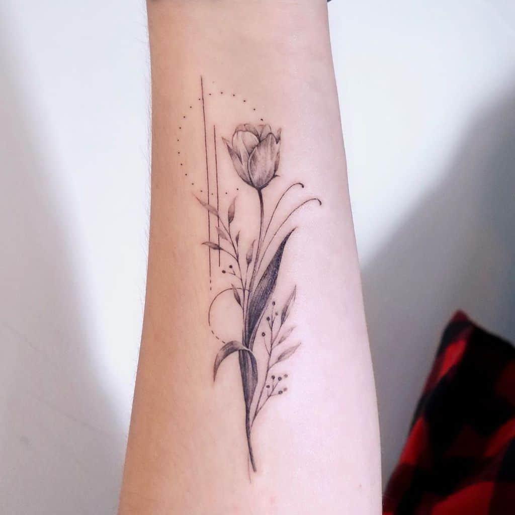 Geometric Tulip Tattoo