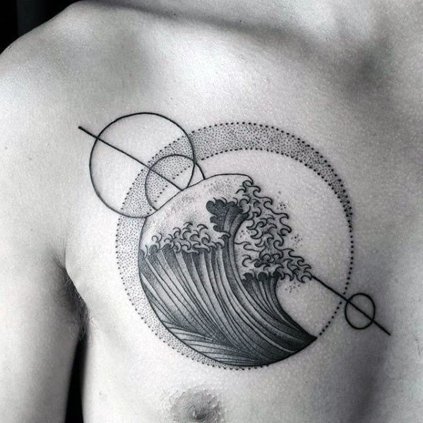 Geometric Upper Chest The Great Wave Circles Guys Tattoo Designs