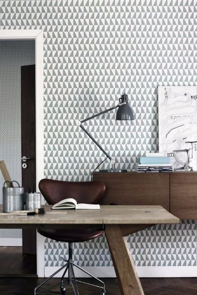 Geometric Wall Print Small Home Office Ideas