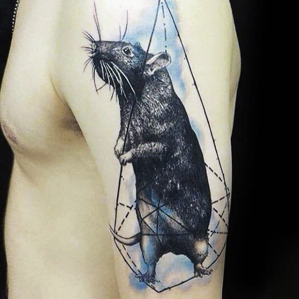 Geometric Watercolor Male Rat Arm Tattoos