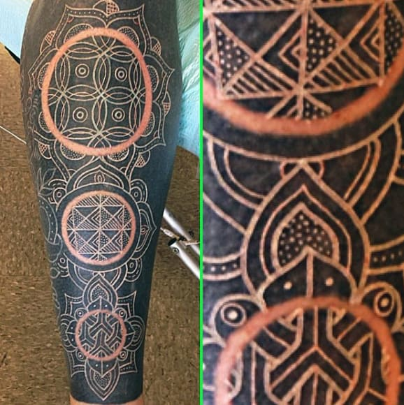 Geometric White Ink Cricle Sleeve Tattoo For Men On Leg
