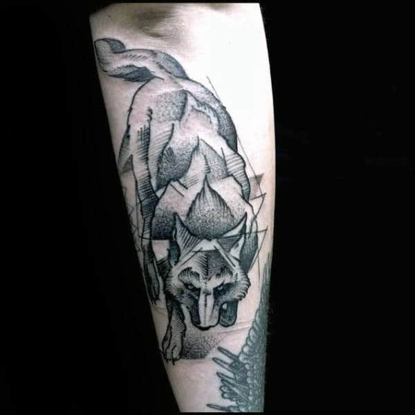 90 geometric wolf tattoo designs for men manly ink ideas. Black Bedroom Furniture Sets. Home Design Ideas