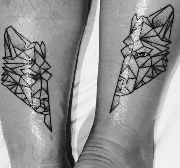 Geometric Wolf Couples Tattoos