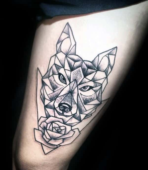 Geometric Wolf With Rose Flower Mens Thigh Tattoo