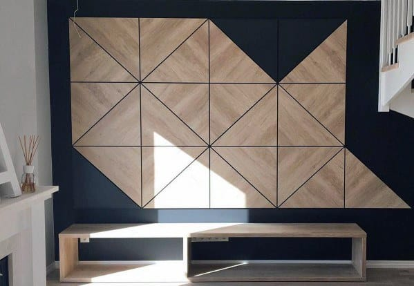 Geometric Wood Pattern Tv Wall Design Ideas
