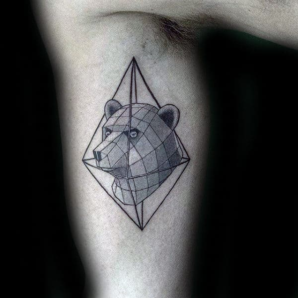 Geometrical Bear Mens Inner Arm Bicep Tattoo With 3d Design