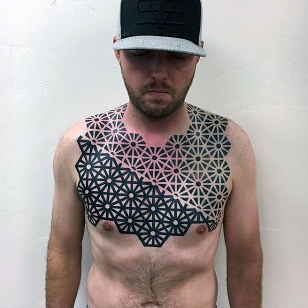 Geometrical Black Ink Pattern Artistic Guys Upper Chest Tattoos