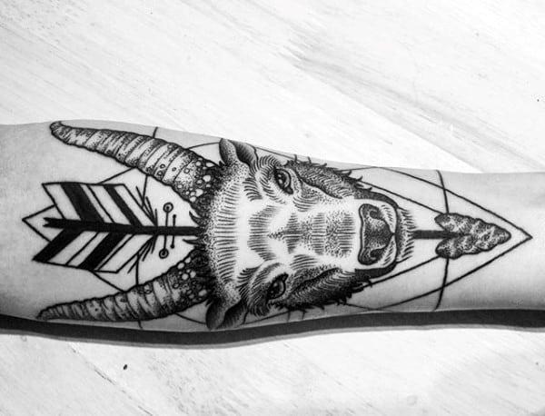 Geometrical Capricorn Goat With Arrow Forearm Tattoo