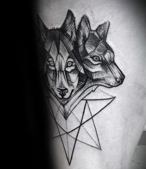 Geometrical Cerberus Tattoo On Males Arm