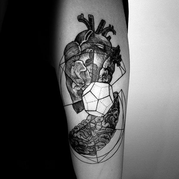 Geometrical Cube Heart Mens Forearm Tattoo
