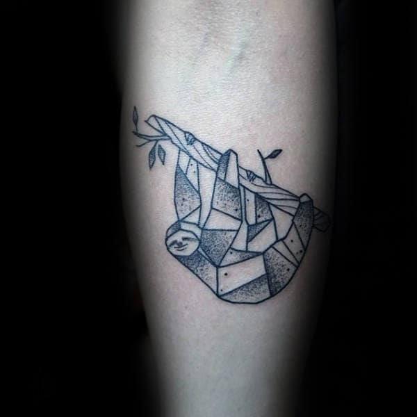 Geometrical Dotwork Sloth On A Tree Branch Male Small Inner Forearm Tattoos